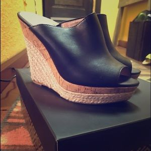 Open toe wedge shoes